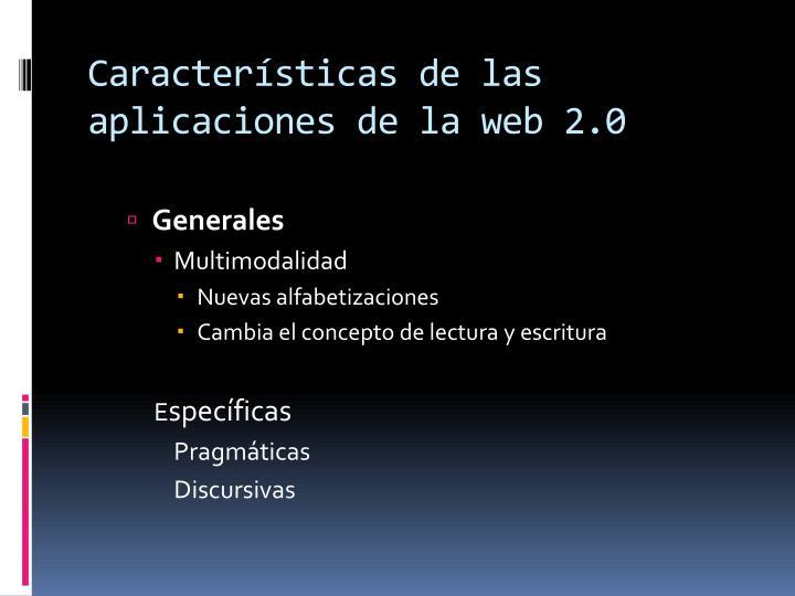 Características de las aplicaciones de la web 2.0