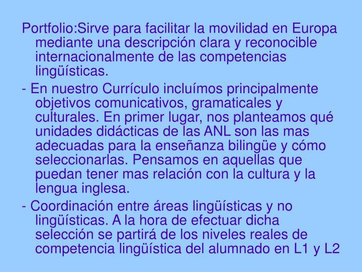 Portfolio:Sirve para facilitar la movilidad en Europa mediante una descripción clara y reconocible internacionalmente de las competencias lingüísticas.