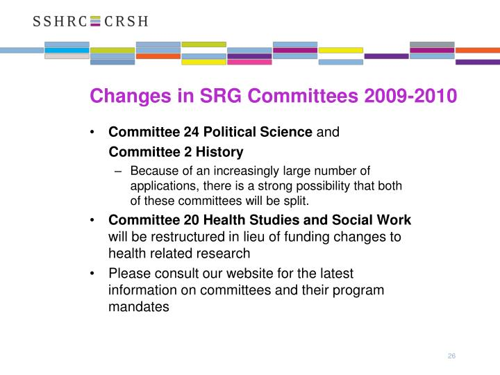 Changes in SRG Committees 2009-2010