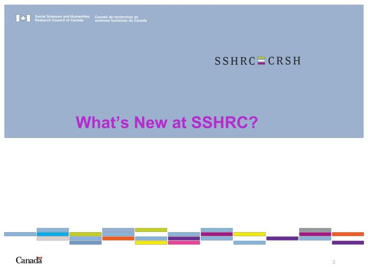 What s new at sshrc