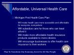 affordable universal health care