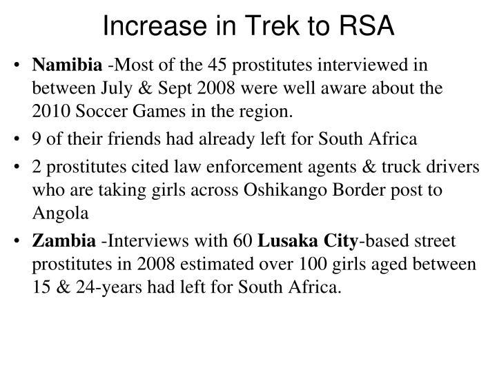 Increase in Trek to RSA