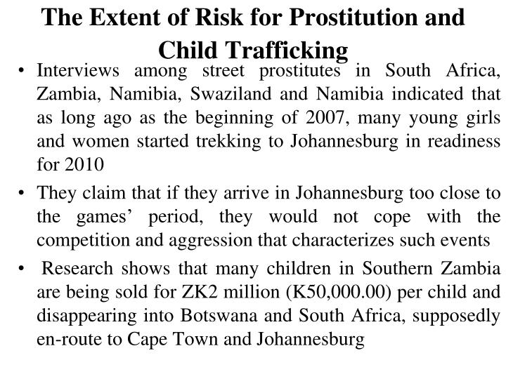 The Extent of Risk for Prostitution and Child Trafficking