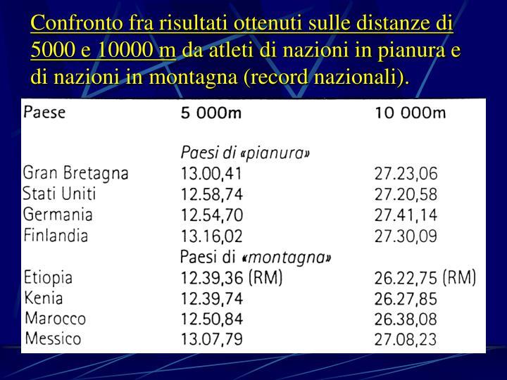 Confronto fra risultati ottenuti sulle distanze di 5000 e 10000 m