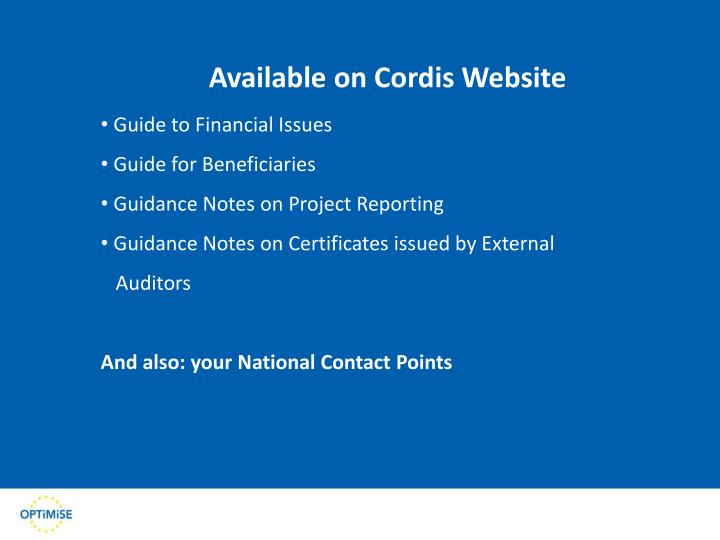 Available on Cordis Website