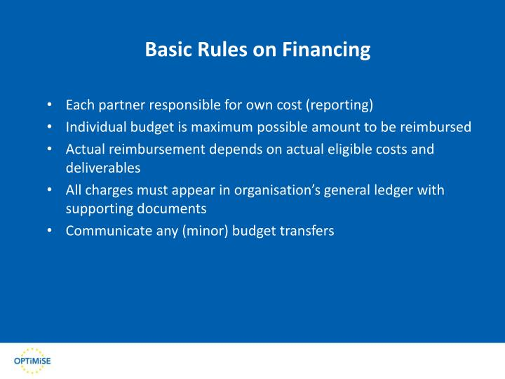 Basic Rules on Financing