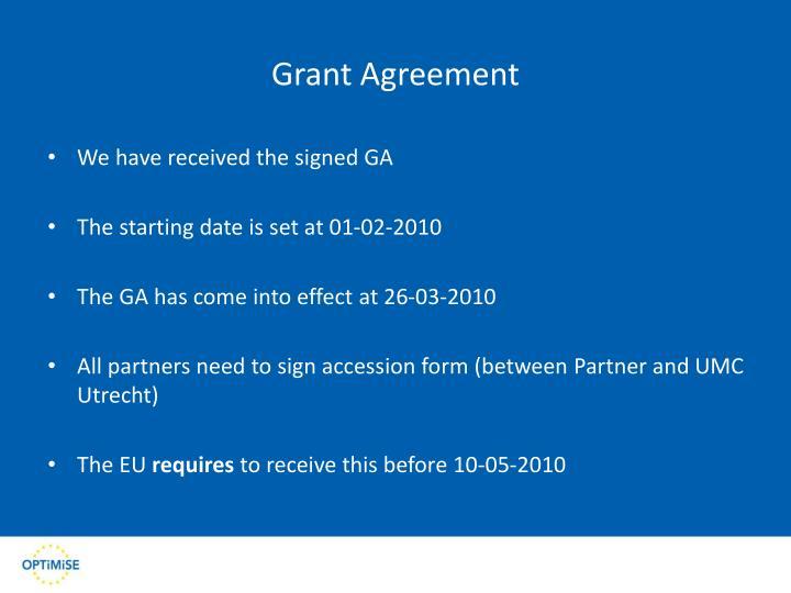 Grant agreement