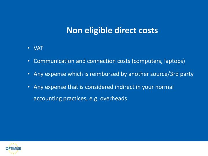 Non eligible direct costs