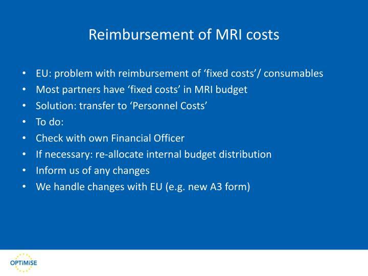 Reimbursement of MRI costs
