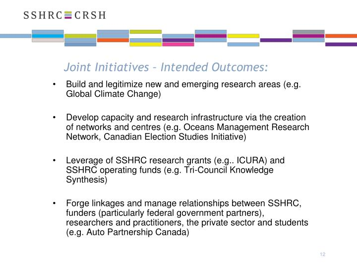 Joint Initiatives – Intended Outcomes: