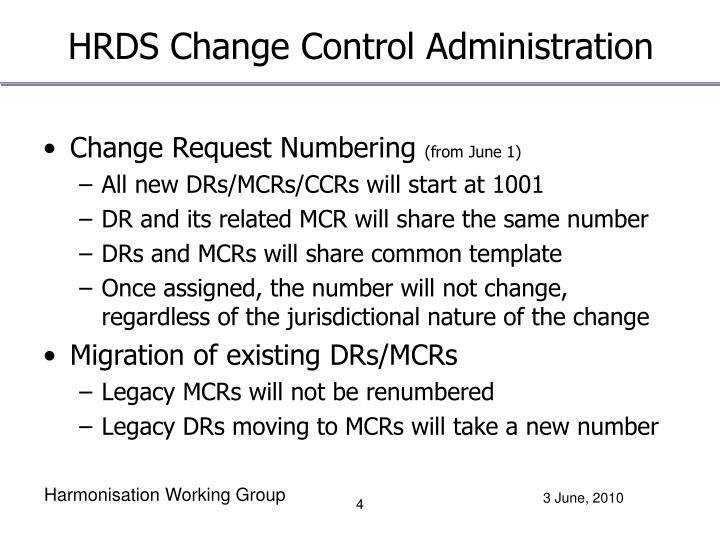 HRDS Change Control Administration