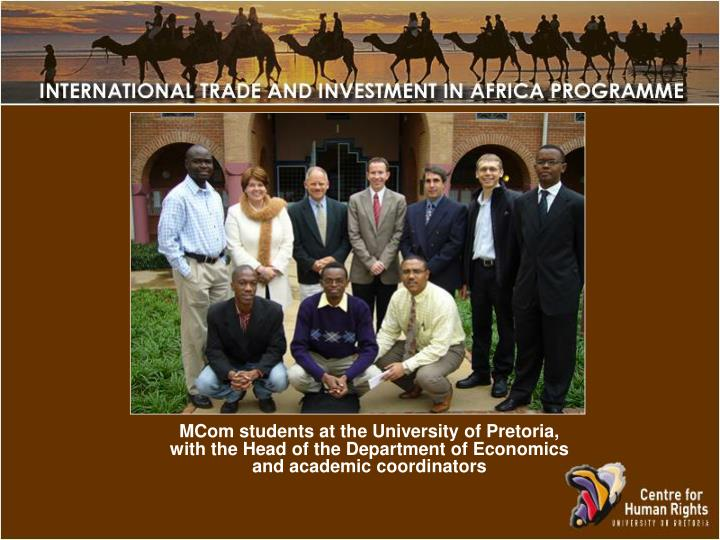 MCom students at the University of Pretoria,