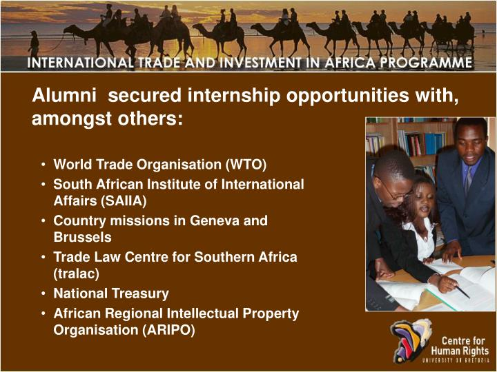 Alumni  secured internship opportunities with, amongst others: