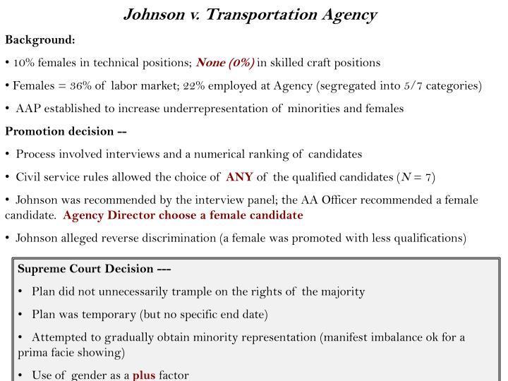 Johnson v. Transportation Agency