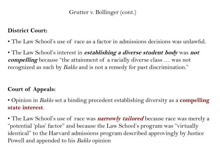 Grutter v. Bollinger (cont.)