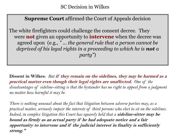 SC Decision in Wilkes