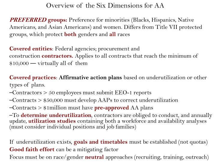 Overview of the Six Dimensions for AA