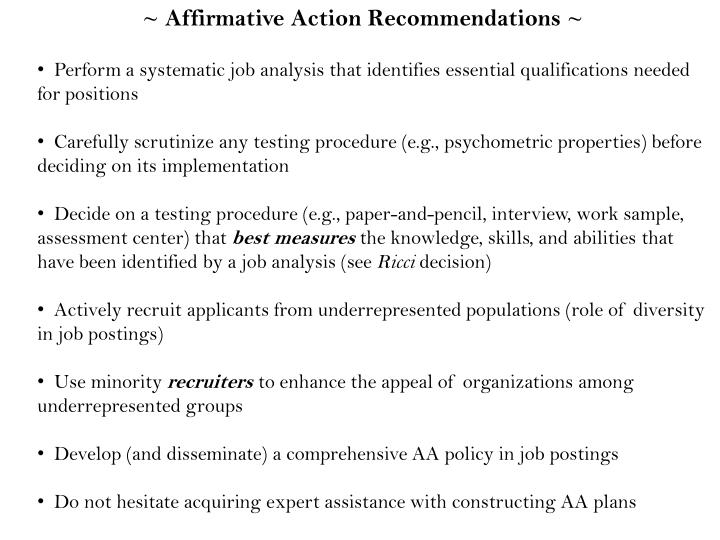~ Affirmative Action Recommendations ~