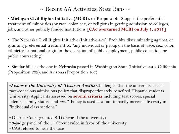 ~ Recent AA Activities; State Bans ~
