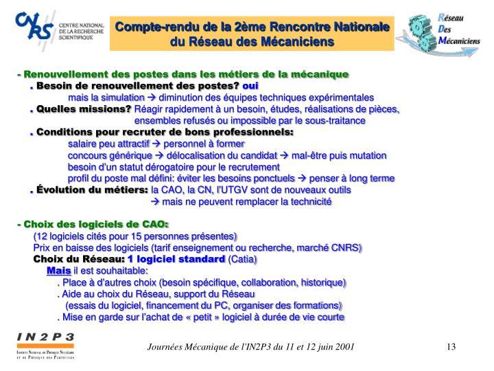 Compte-rendu de la 2ème Rencontre Nationale