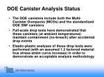 doe canister analysis status
