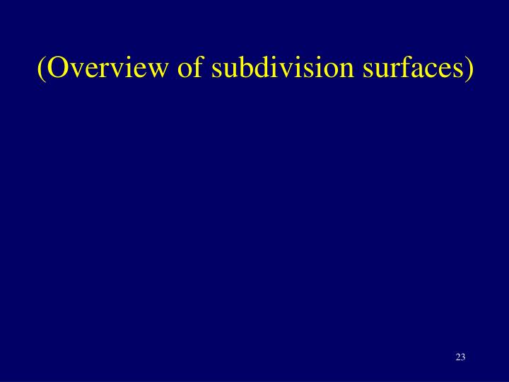 (Overview of subdivision surfaces)