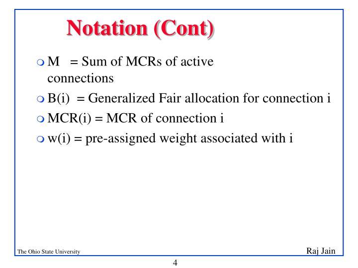 Notation (Cont)