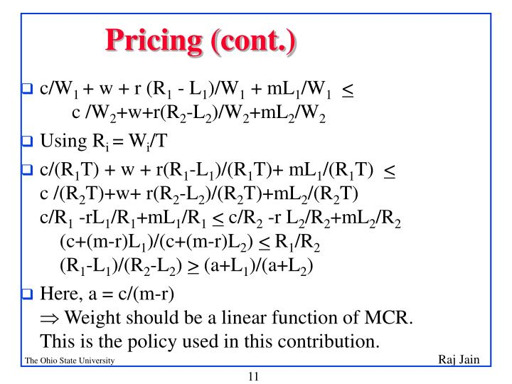 Pricing (cont.)