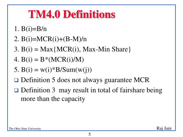 TM4.0 Definitions