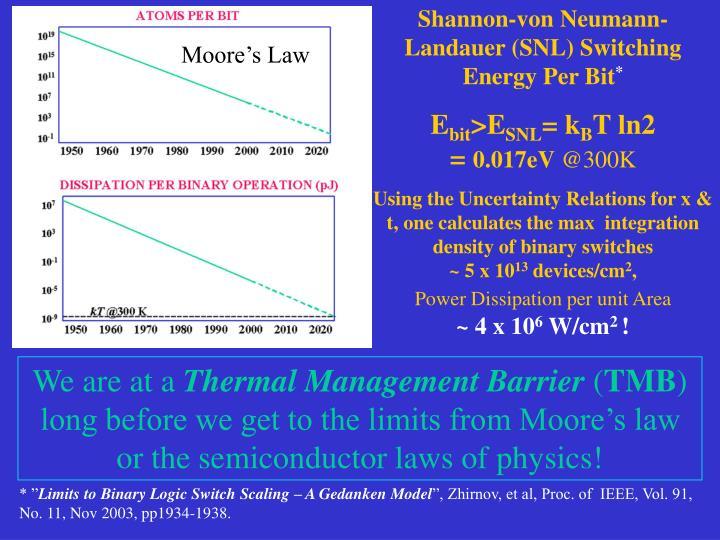 Shannon-von Neumann-Landauer (SNL) Switching Energy Per Bit