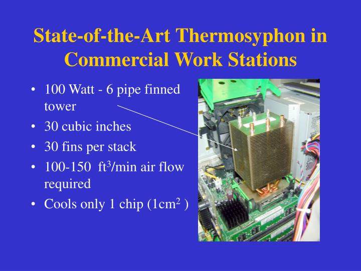 State of the art thermosyphon in commercial work stations