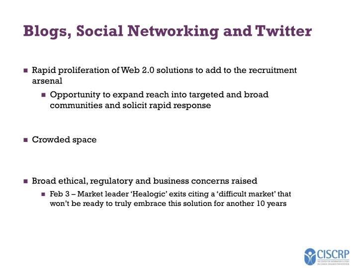 Blogs, Social Networking and Twitter