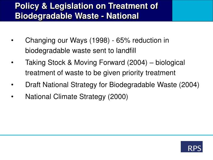 Policy & Legislation on Treatment of  Biodegradable Waste - National