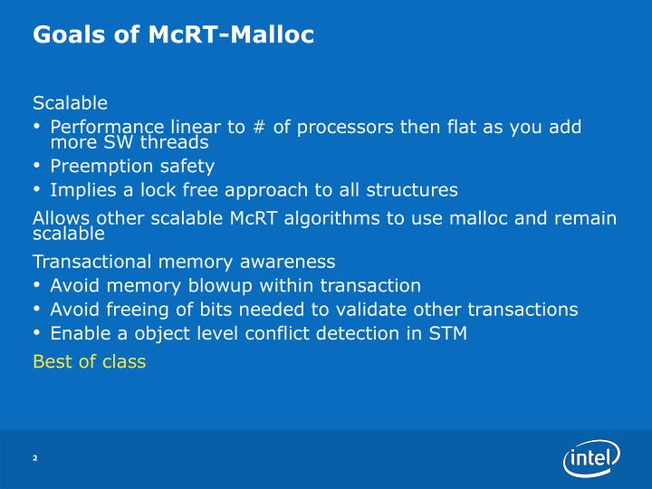 Goals of mcrt malloc