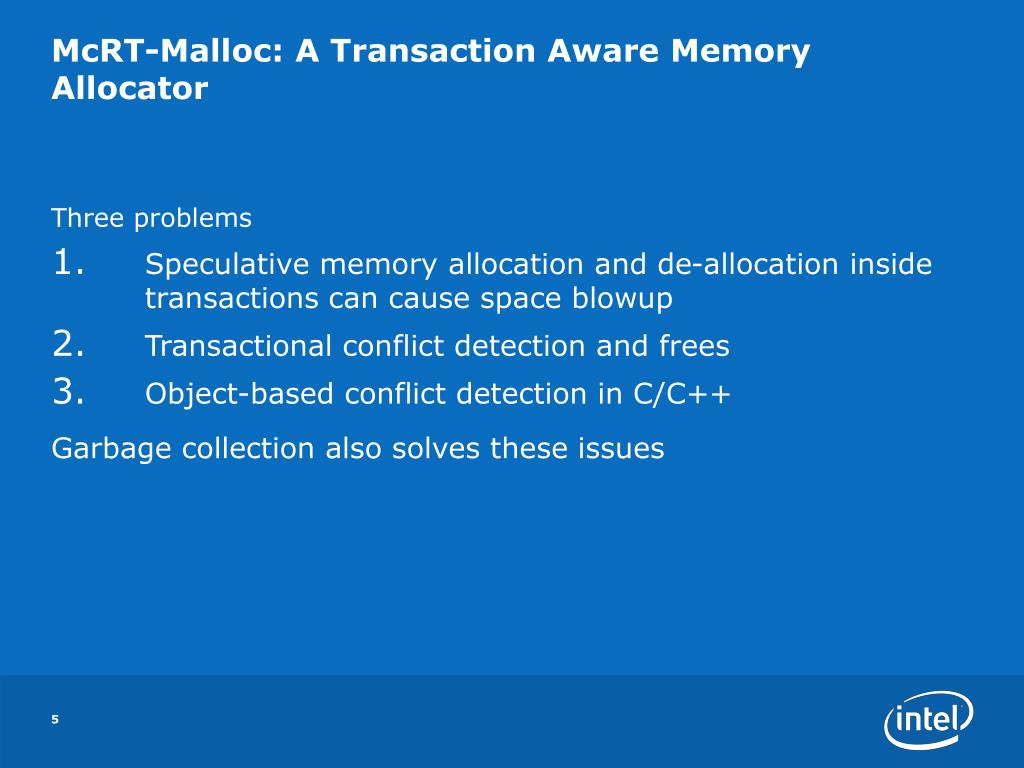 PPT - McRT-Malloc: A Scalable Non-Blocking Transaction Aware