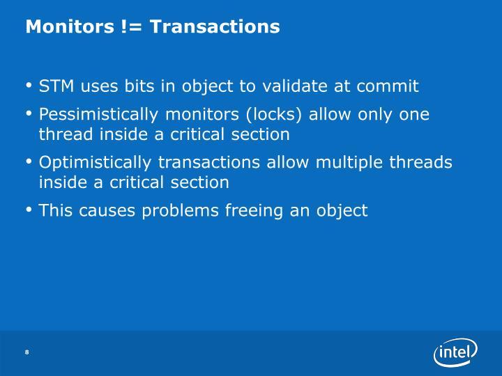 Monitors != Transactions