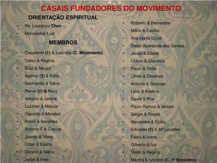 CASAIS FUNDADORES DO MOVIMENTO