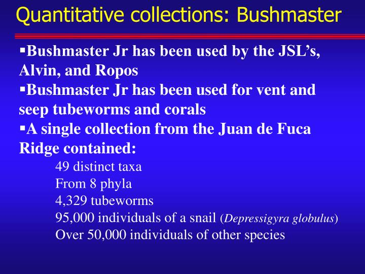 Quantitative collections: Bushmaster