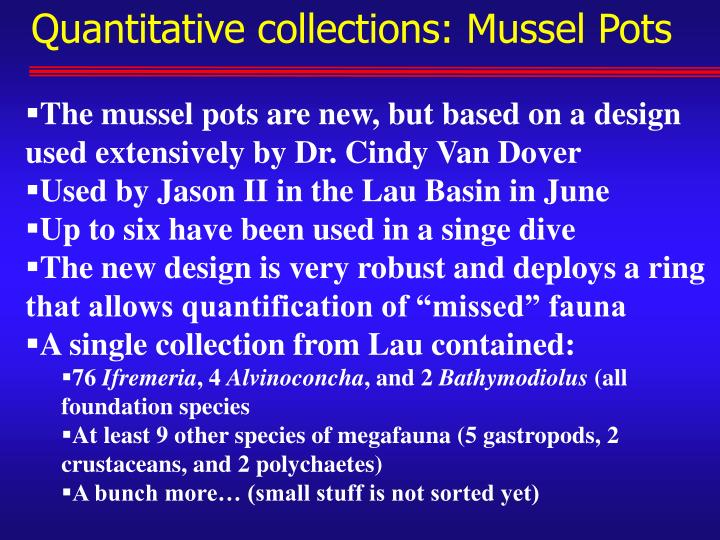 Quantitative collections: Mussel Pots