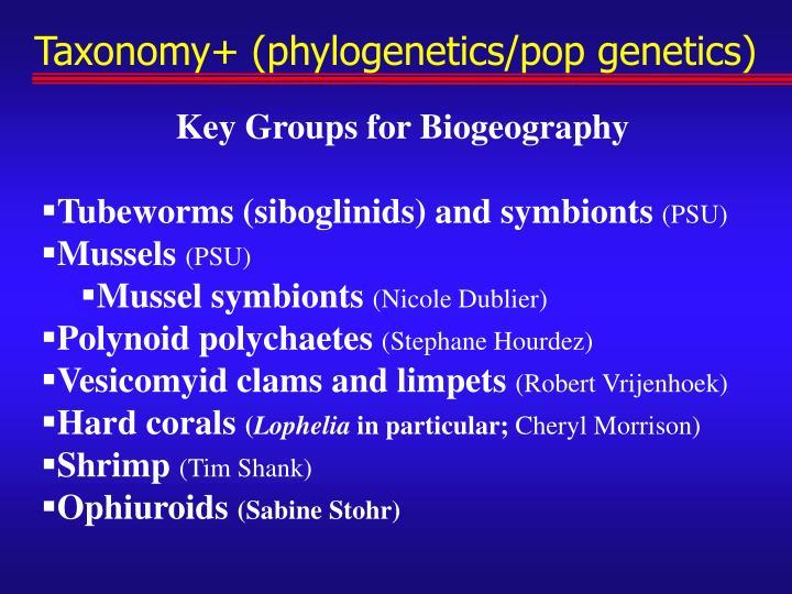 Taxonomy+ (phylogenetics/pop genetics)