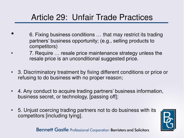 Article 29:  Unfair Trade Practices