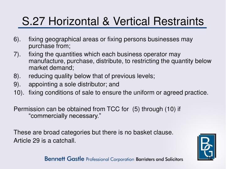 S.27 Horizontal & Vertical Restraints