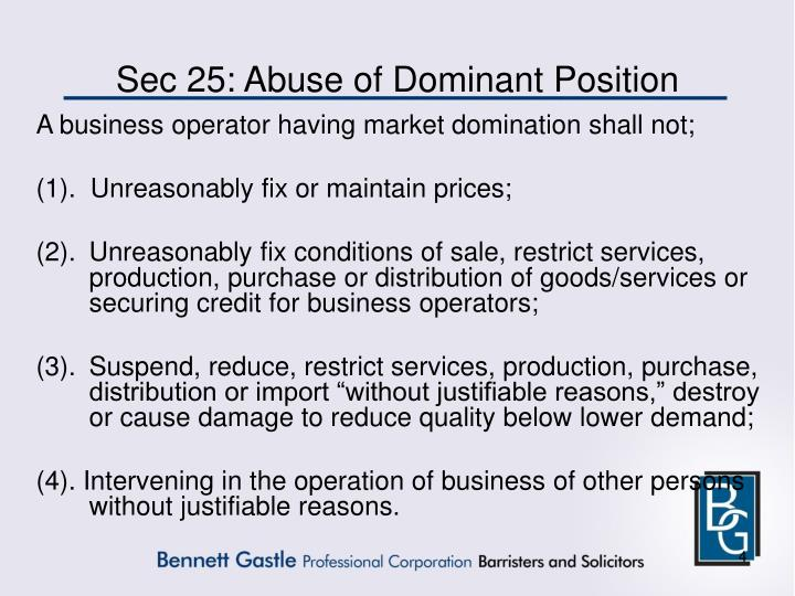 Sec 25: Abuse of Dominant Position