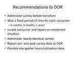 recommendations to dor