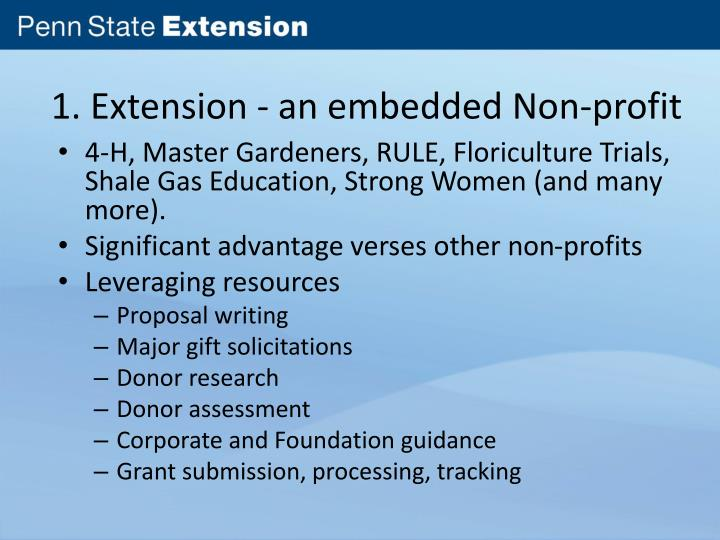 1. Extension - an embedded Non-profit