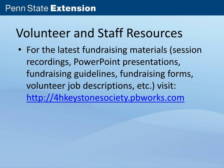 Volunteer and Staff Resources
