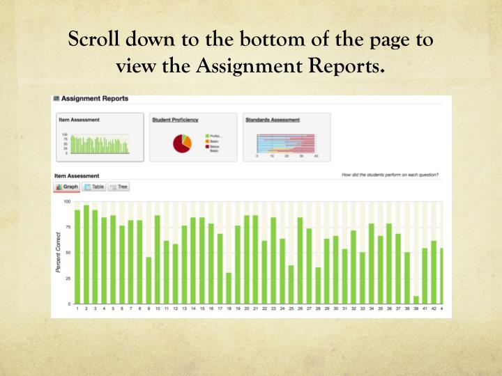 Scroll down to the bottom of the page to view the Assignment Reports.