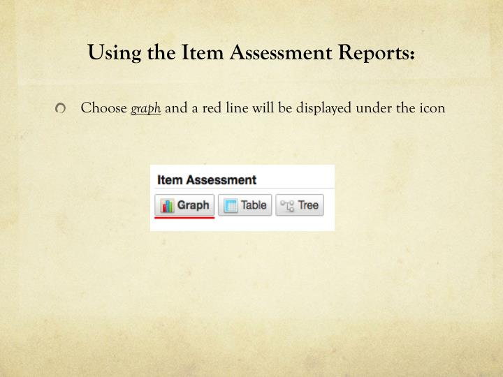 Using the Item Assessment Reports: