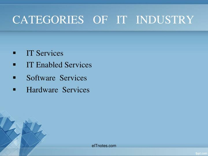 CATEGORIES   OF   IT   INDUSTRY