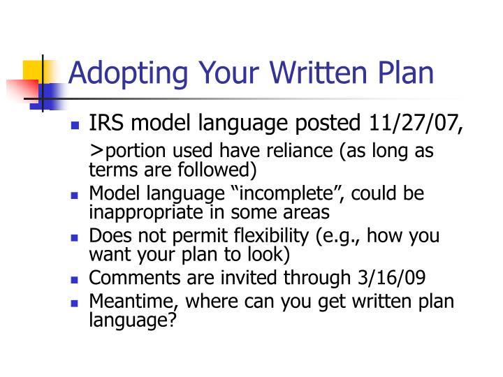 Adopting Your Written Plan